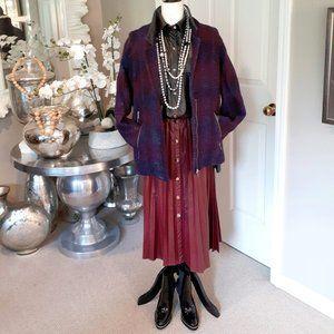 Zara navy blue & burgundy knit coat jacket, Size M